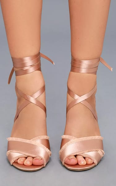 Report Maria Pink Satin Lace-Up Heels